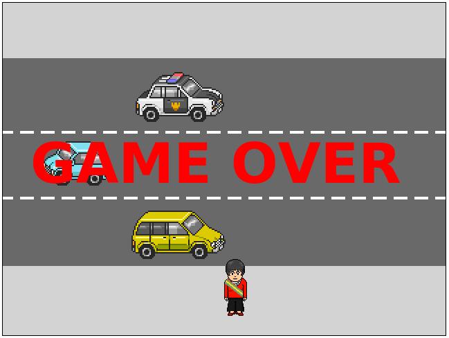 Colisão do carro amarelo com o personagem