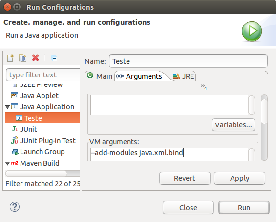 Run Configurations > Java Application > Arguments > VM arguments