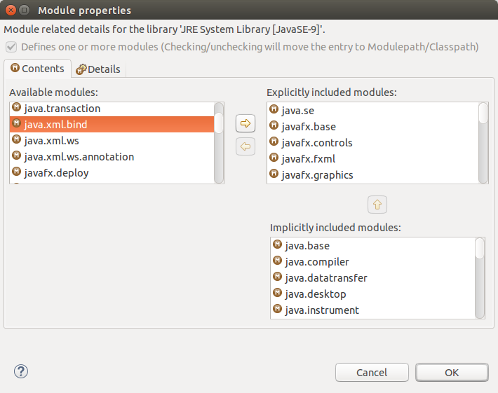 Module properties > Available > Explicitly included